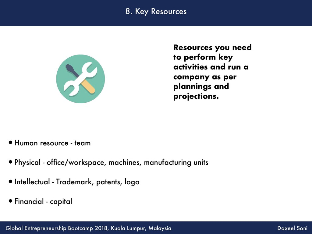 8. Key Resources •Human resource - team •Physic...