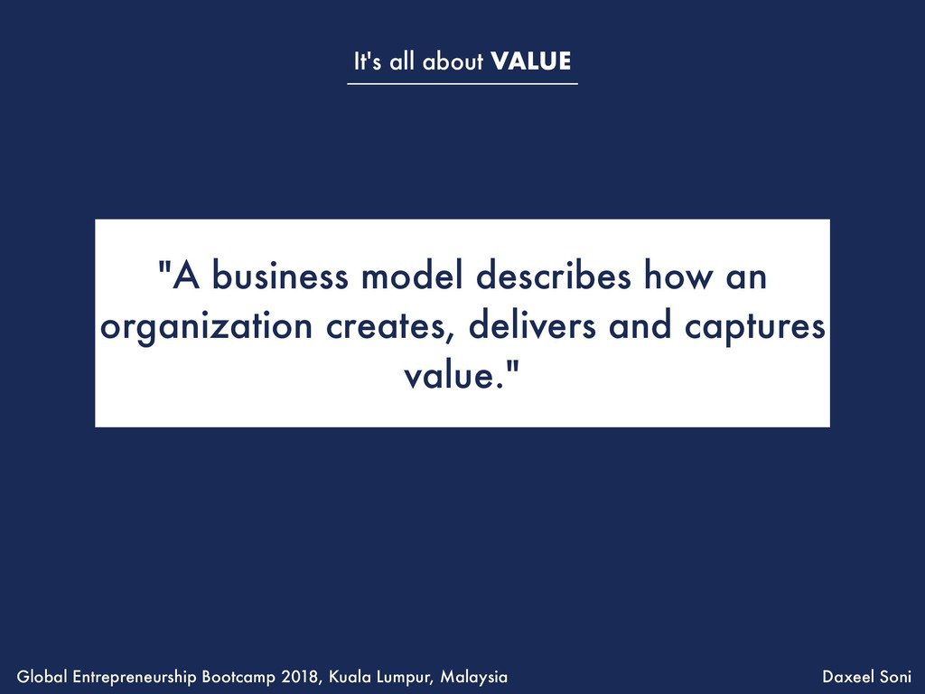"It's all about VALUE ""A business model describe..."