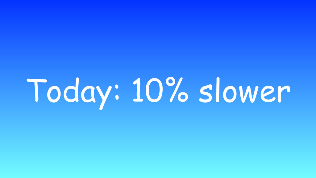 Today: 10% slower