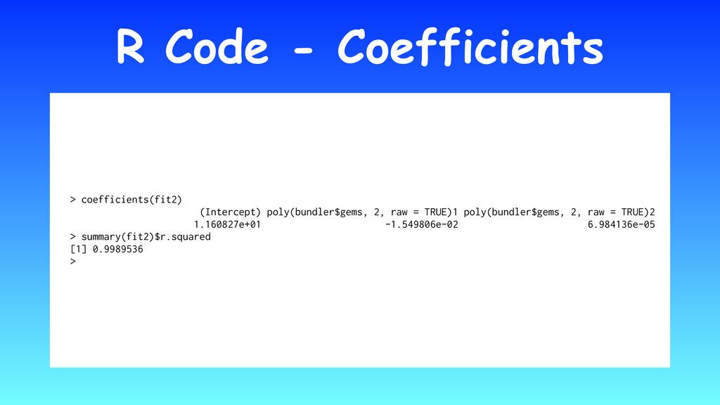 R Code - Coefficients > coefficients(fit2) (Int...