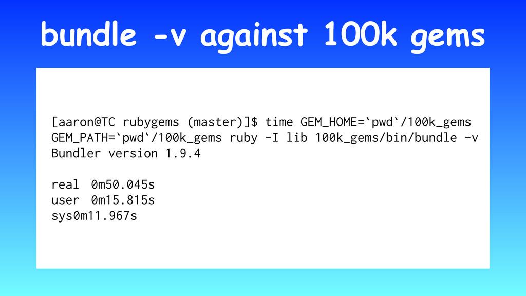 bundle -v against 100k gems [aaron@TC rubygems ...