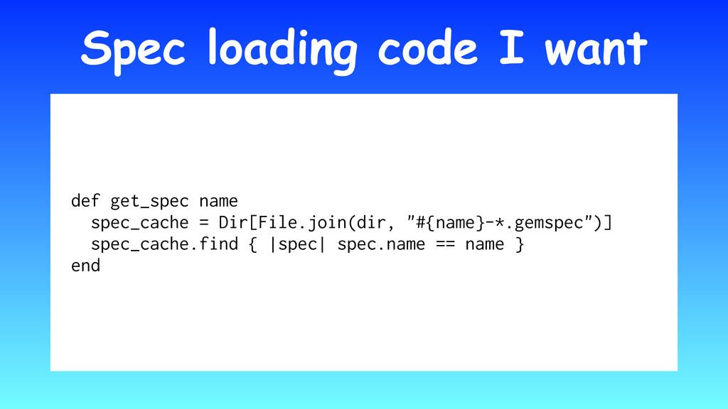 Spec loading code I want def get_spec name spec...