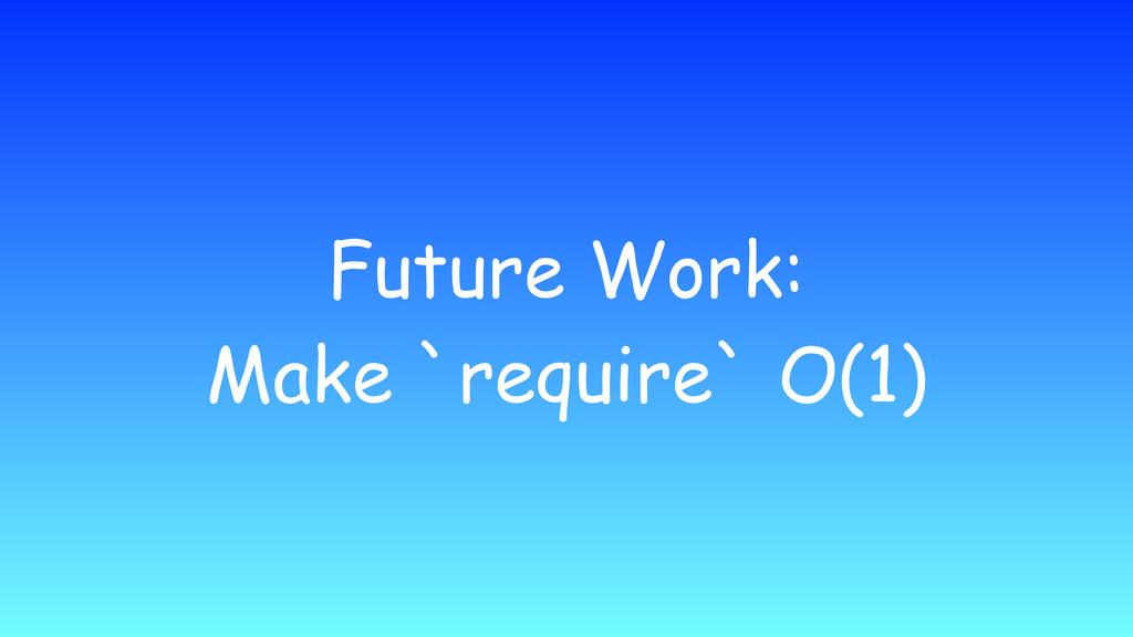 Future Work: Make `require` O(1)