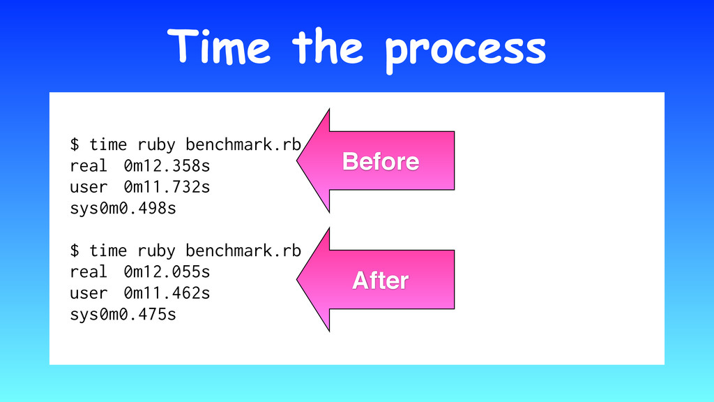 Time the process $ time ruby benchmark.rb real ...