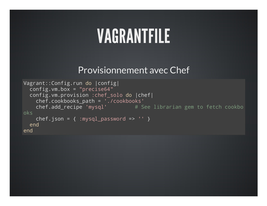 VAGRANTFILE Provisionnement avec Chef V a g r a...