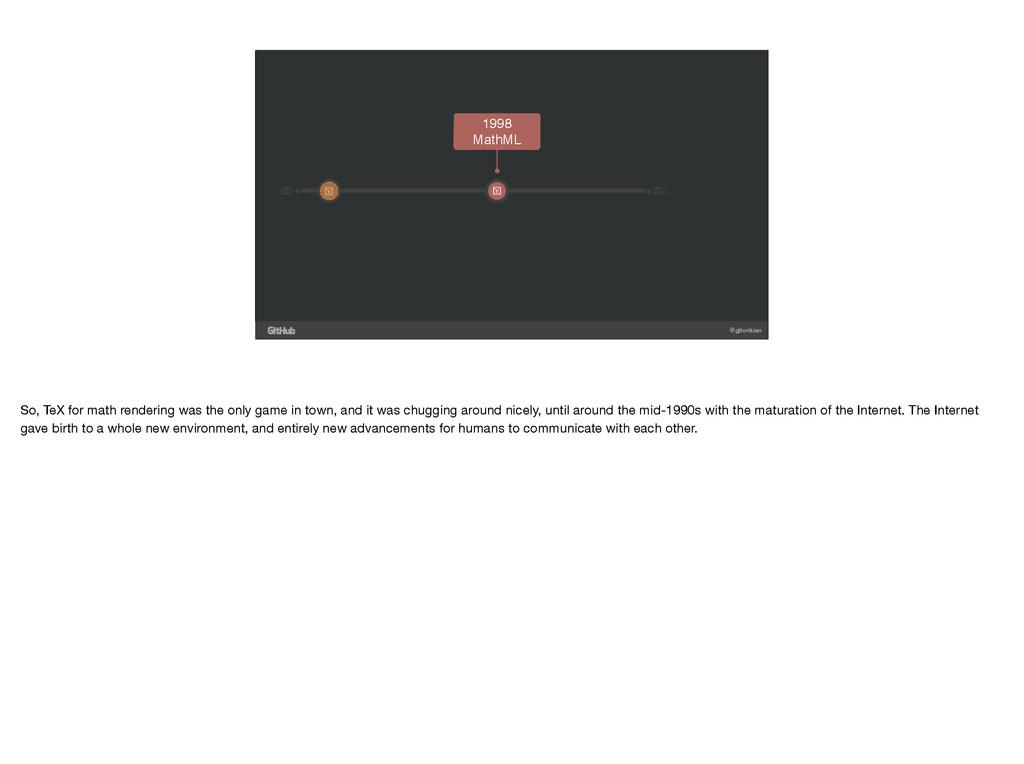 @gjtorikian 1998 MathML ! ! So, TeX for math re...