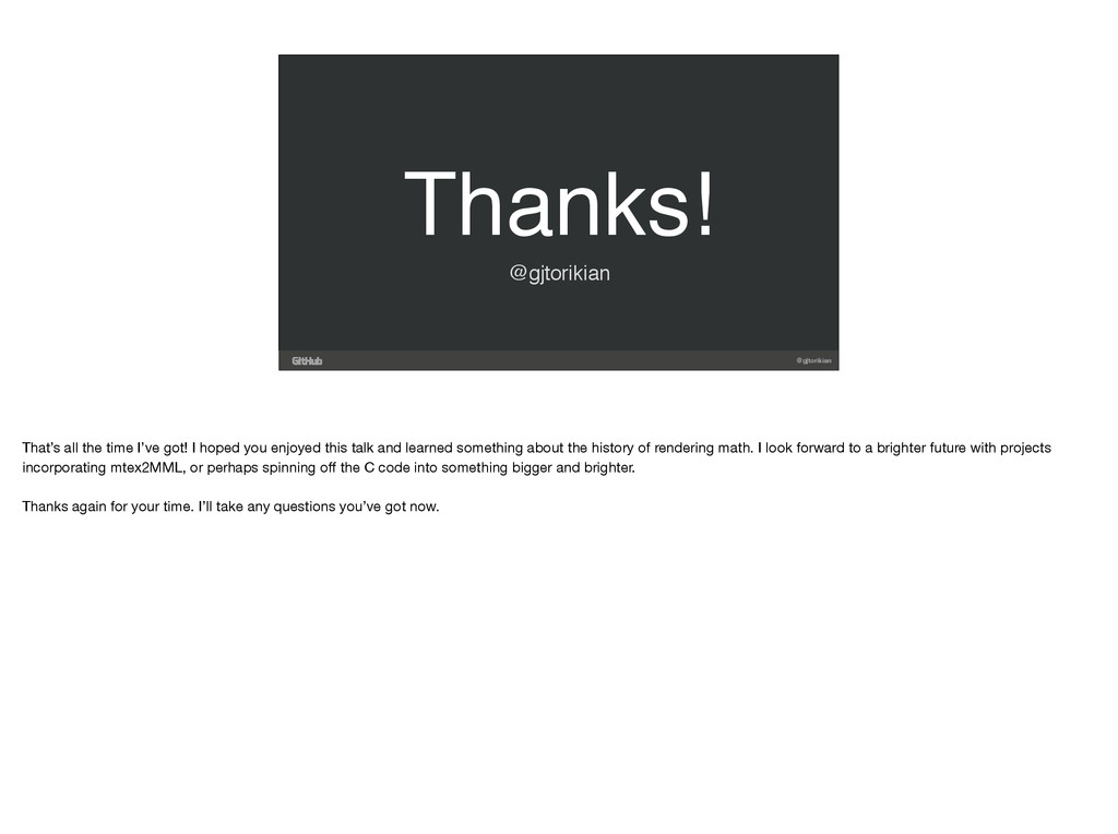 @gjtorikian Thanks! @gjtorikian That's all the ...