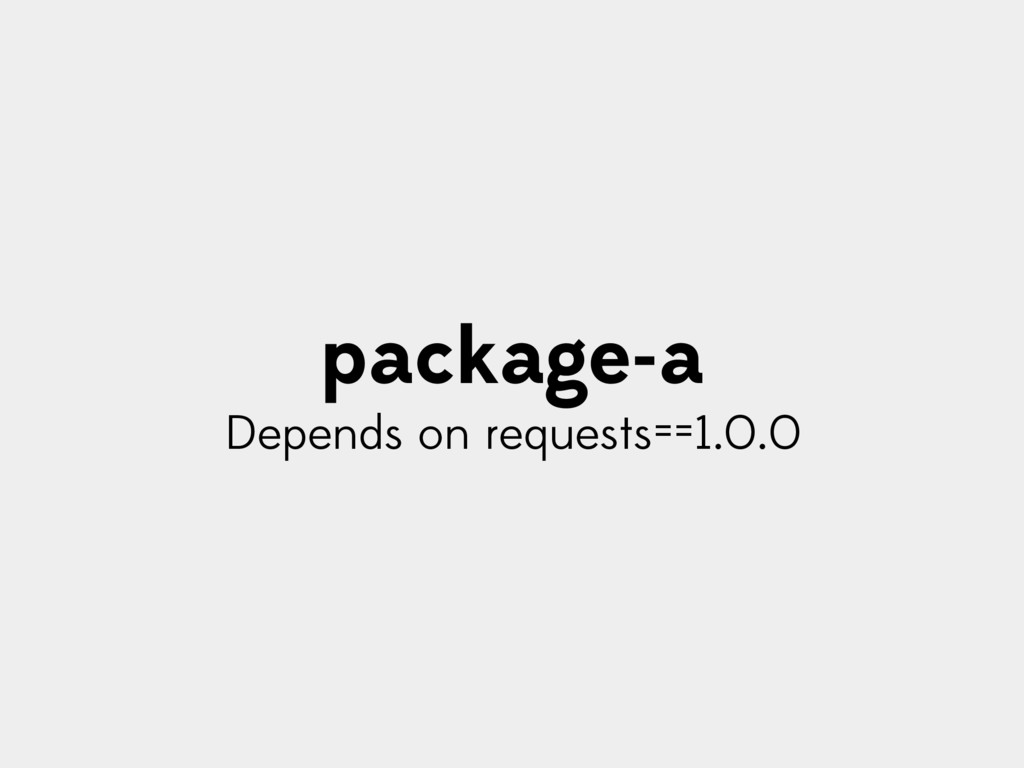 package-a Depends on requests==1.0.0