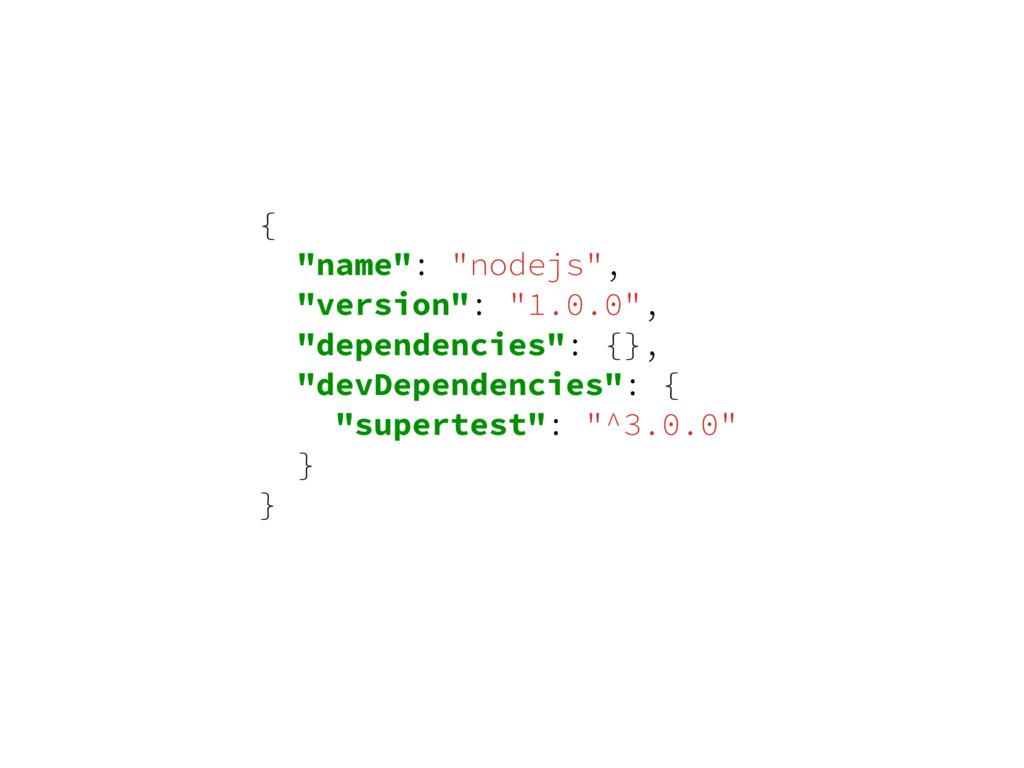 """{ """"name"""": """"nodejs"""", """"version"""": """"1.0.0"""", """"depend..."""
