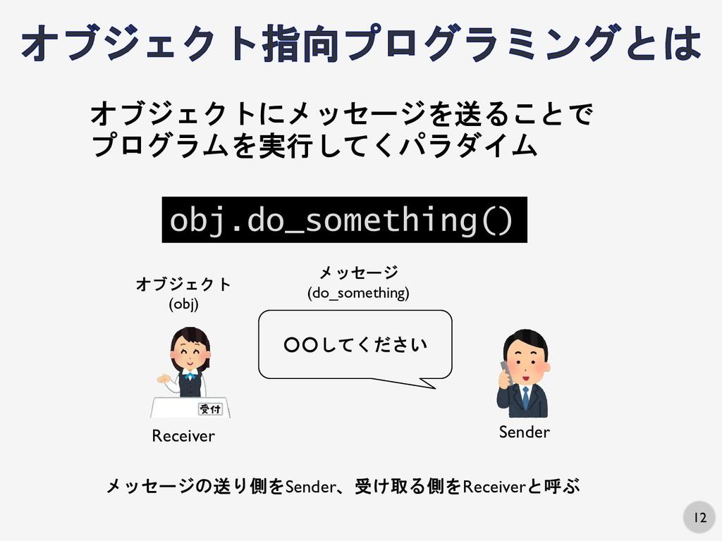 12 ○○してください オブジェクト (obj) メッセージ (do_something) オ...