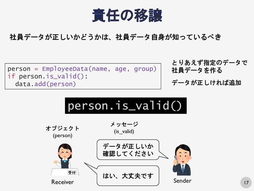 17 社員データが正しいかどうかは、社員データ自身が知っているべき person = Empl...
