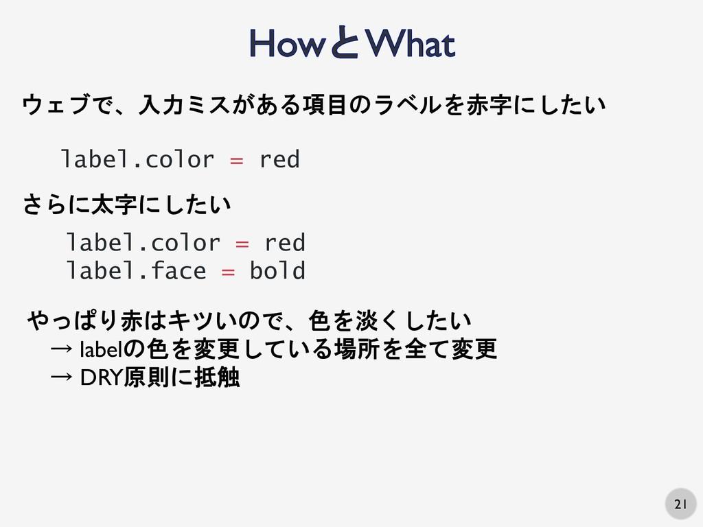 21 ウェブで、入力ミスがある項目のラベルを赤字にしたい label.color = red ...