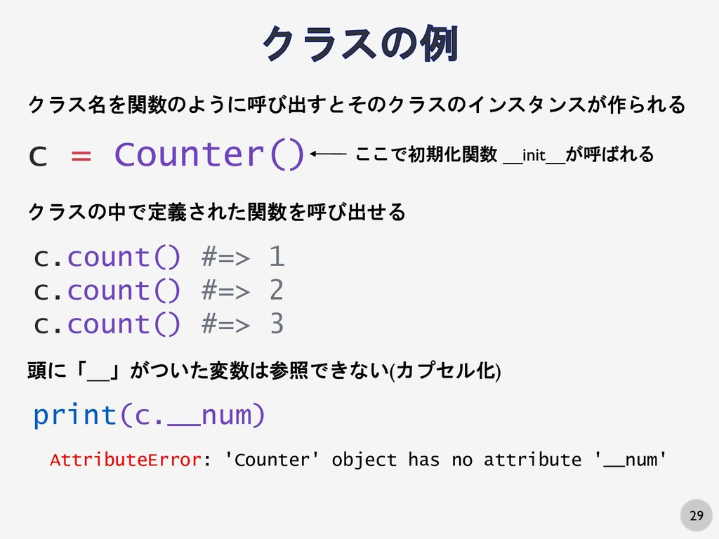 29 c = Counter() クラス名を関数のように呼び出すとそのクラスのインスタンスが作...