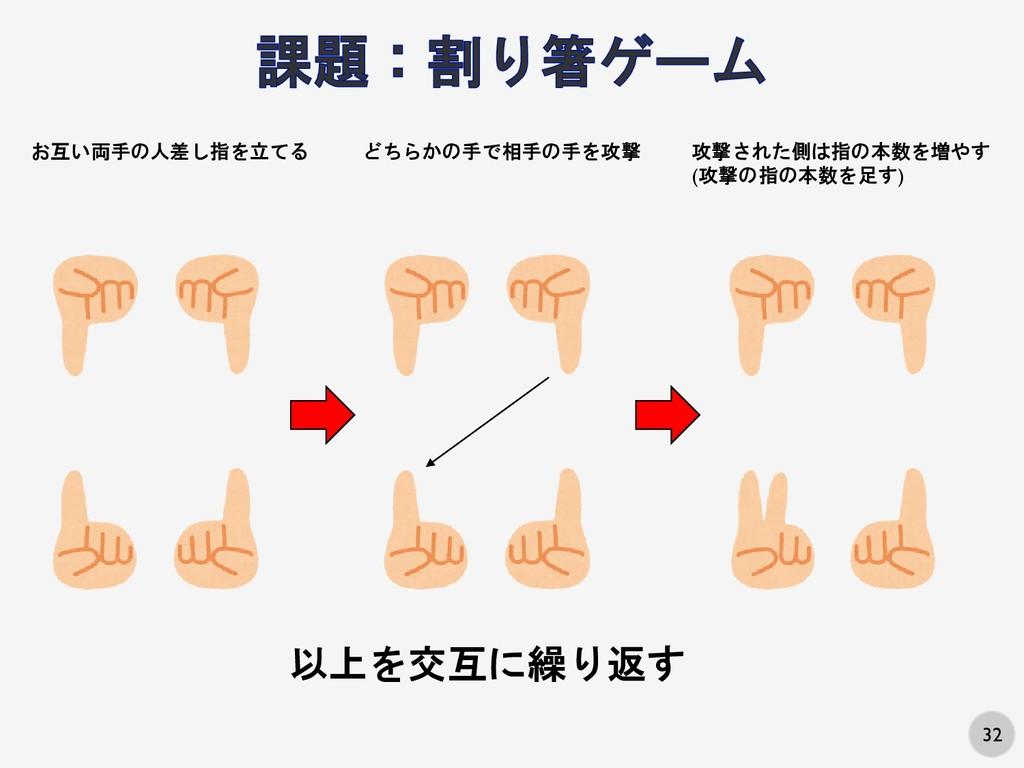 32 お互い両手の人差し指を立てる どちらかの手で相手の手を攻撃 攻撃された側は指の本数を増や...