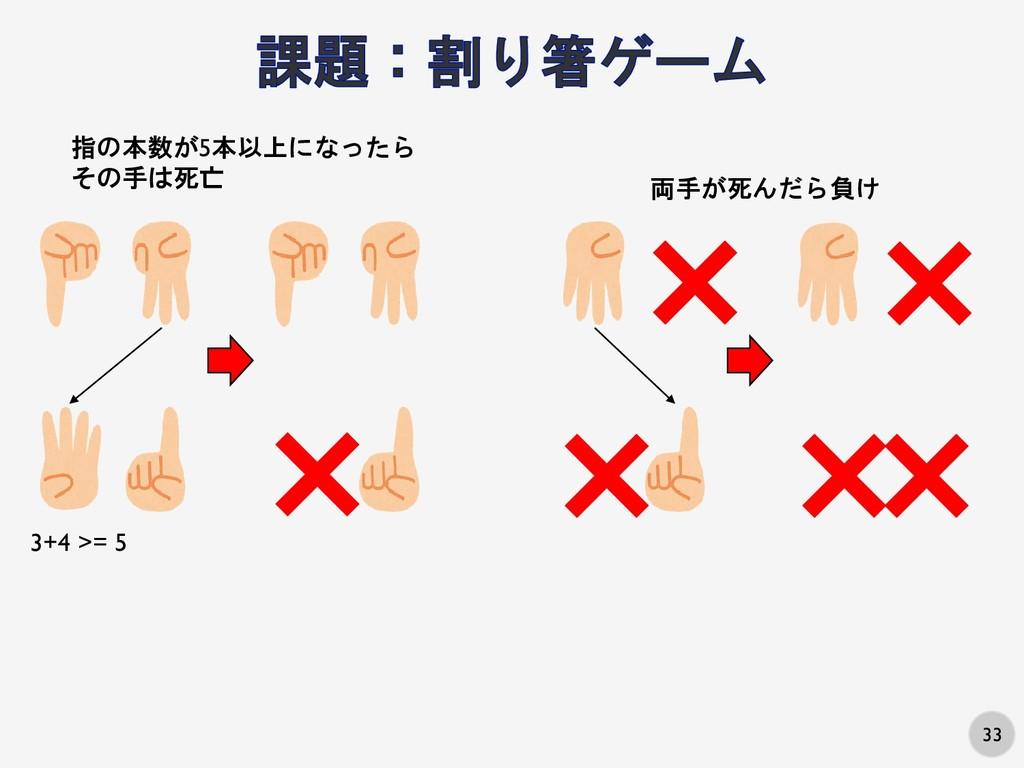 33 指の本数が5本以上になったら その手は死亡 × 両手が死んだら負け × × × × × ...