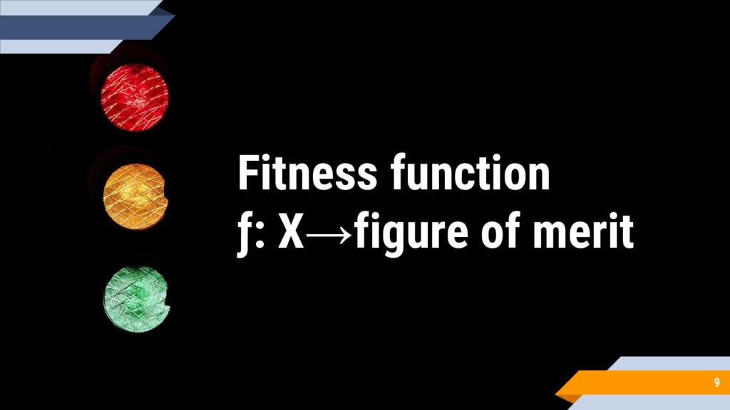 Fitness function ƒ: X→figure of merit 9
