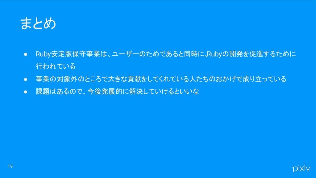 まとめ ● Ruby安定版保守事業は、ユーザーのためであると同時に、 Rubyの開発を促進する...