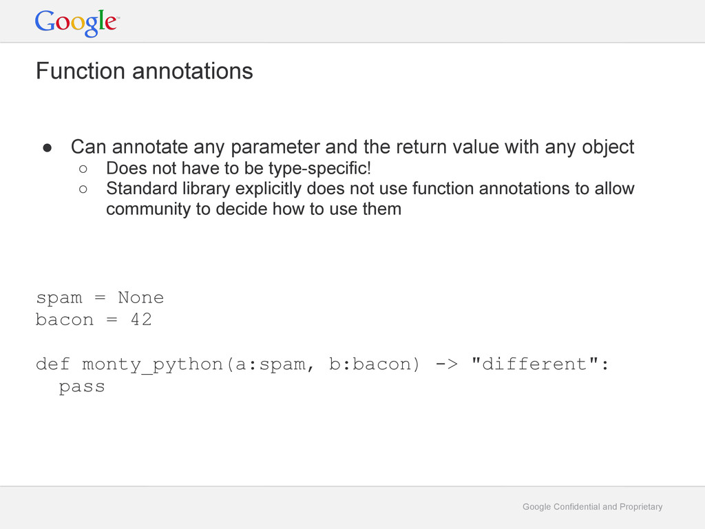Google Confidential and Proprietary Function an...