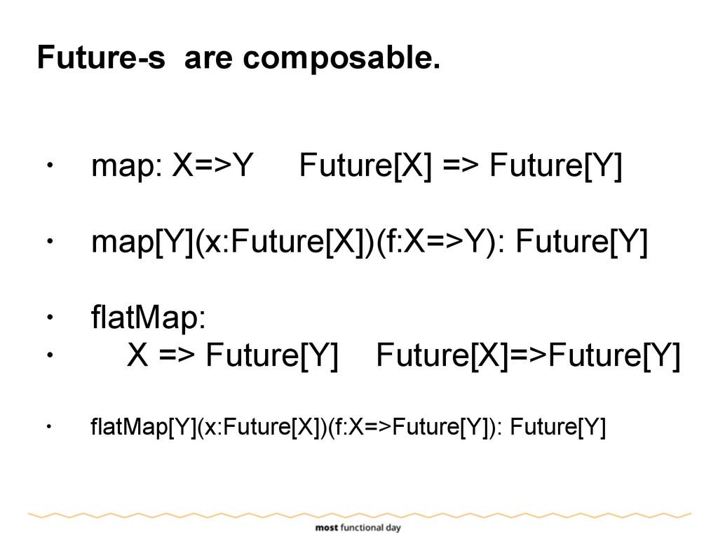 Future-s are composable. ! • map: X=>Y Future[X...