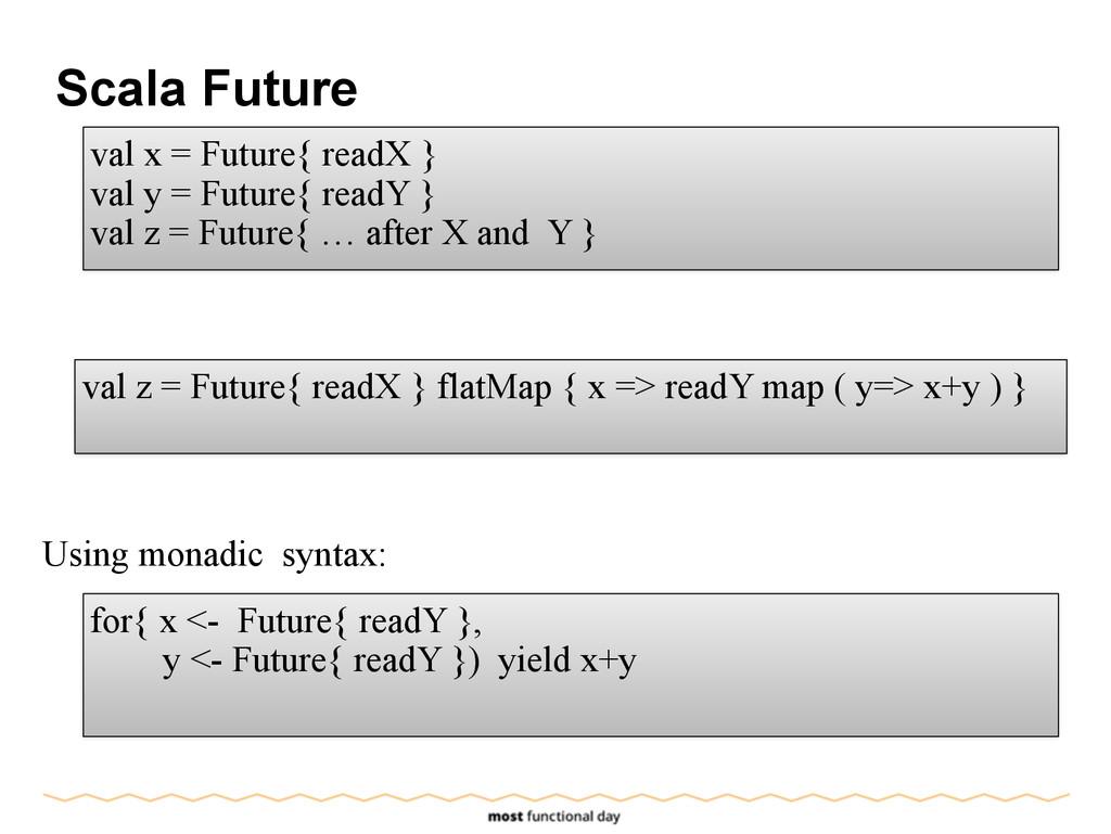 Scala Future val x = Future{ readX } val y = Fu...