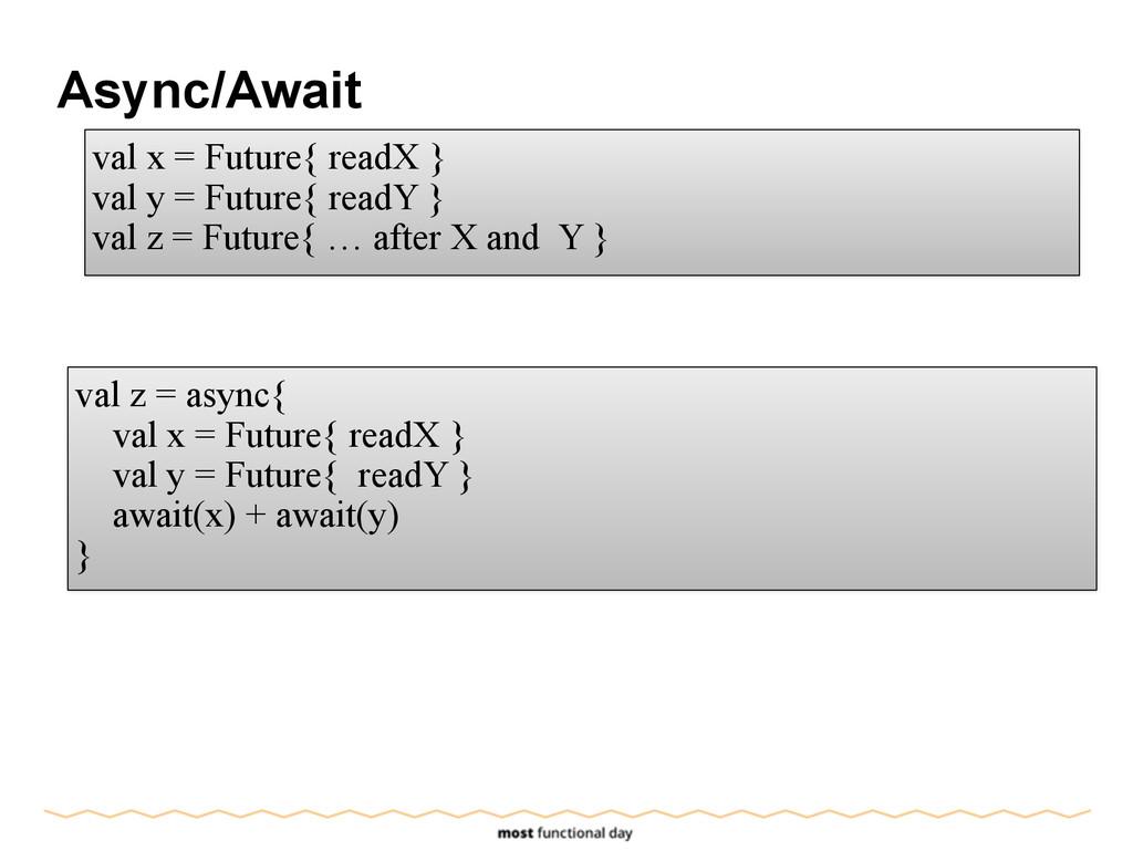 Async/Await val x = Future{ readX } val y = Fut...