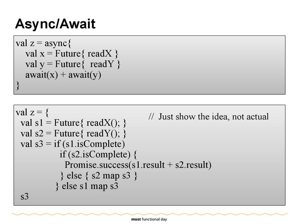 Async/Await val z = async{ val x = Future{ read...
