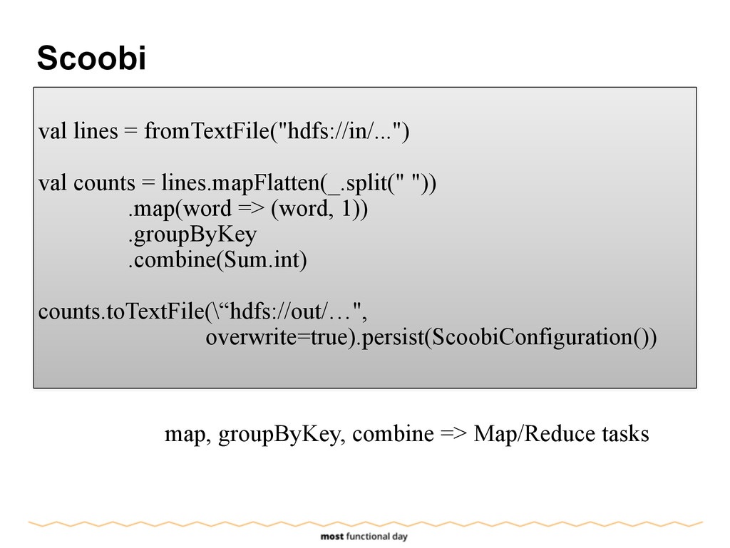"""Scoobi ! val lines = fromTextFile(""""hdfs://in/....."""