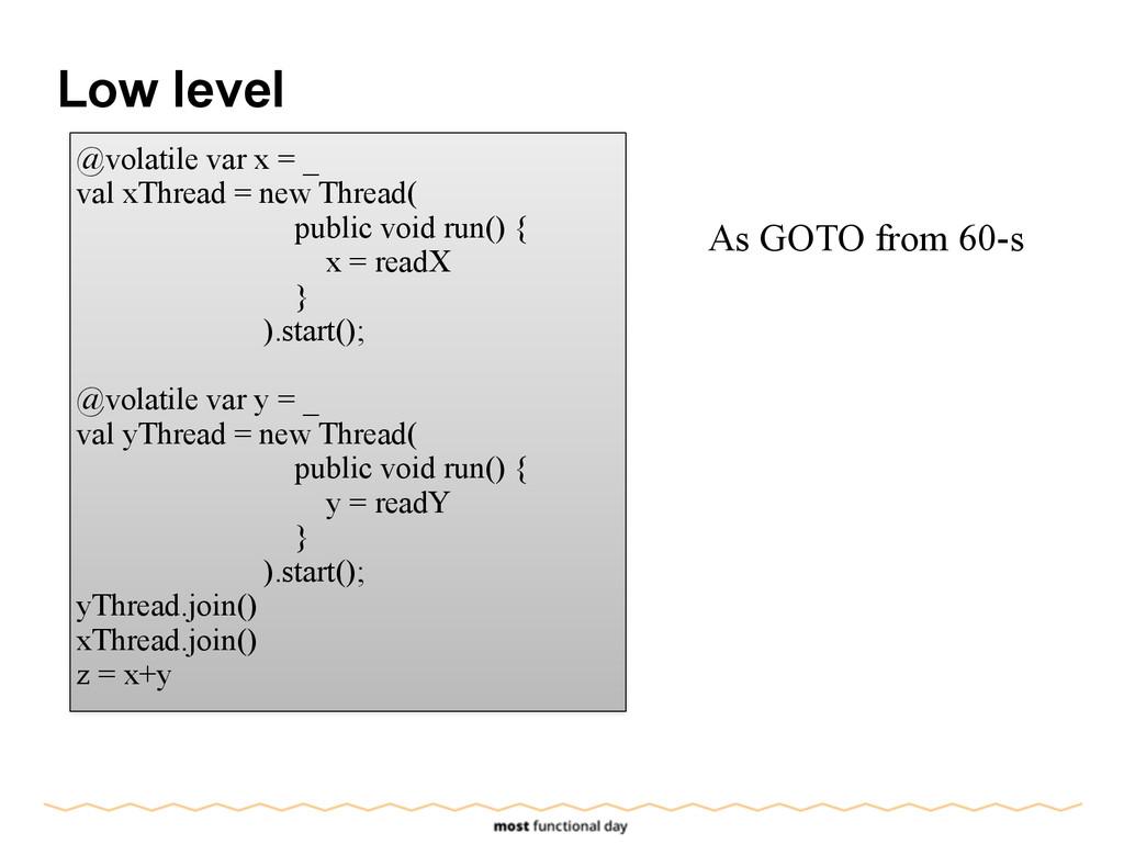 Low level @volatile var x = _ val xThread = new...