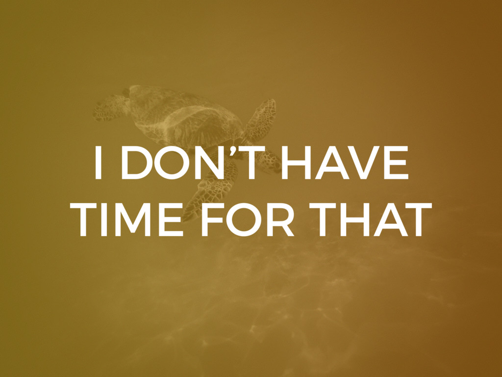 I DON'T HAVE TIME FOR THAT