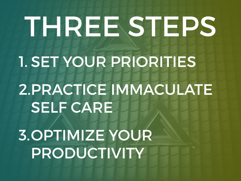 THREE STEPS 1. SET YOUR PRIORITIES 2.PRACTICE I...