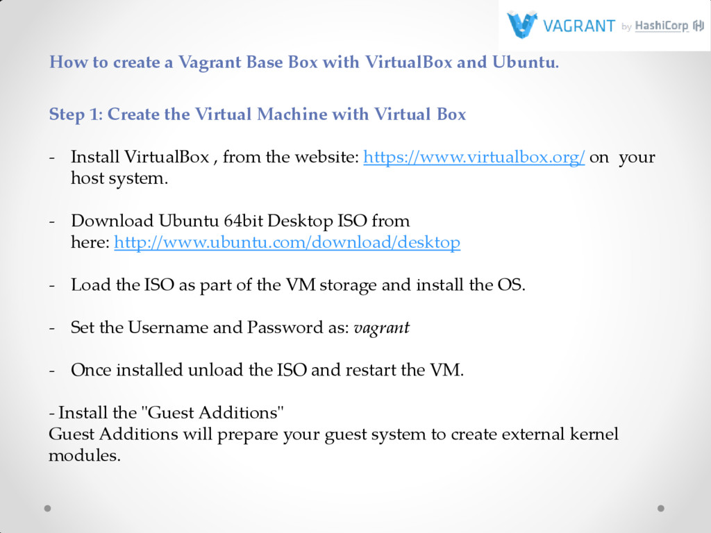 How to create a Vagrant Base Box with VirtualBo...