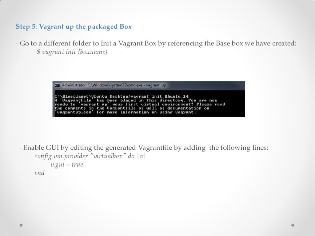Step 5: Vagrant up the packaged Box - Go to a d...