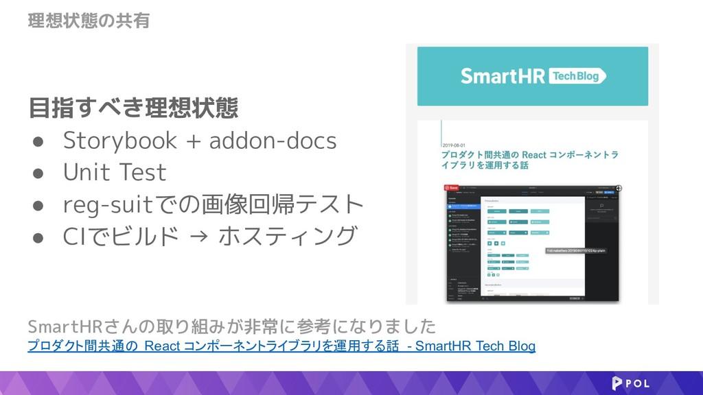 理想状態の共有 SmartHRさんの取り組みが非常に参考になりました プロダクト間共通の Re...