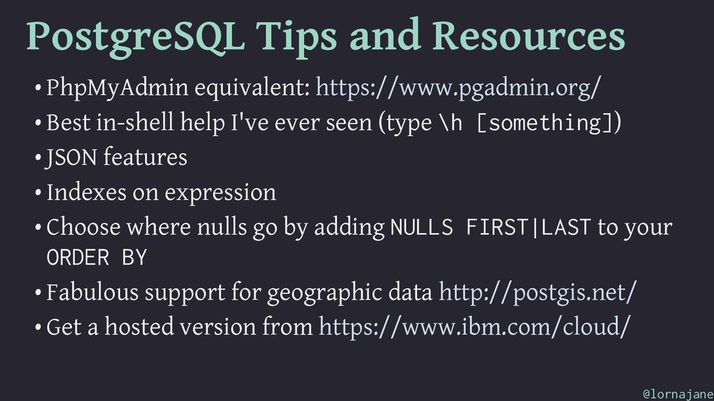 PostgreSQL Tips and Resources • PhpMyAdmin equi...