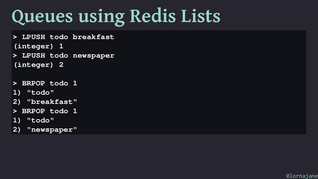 Queues using Redis Lists > LPUSH todo breakfast...