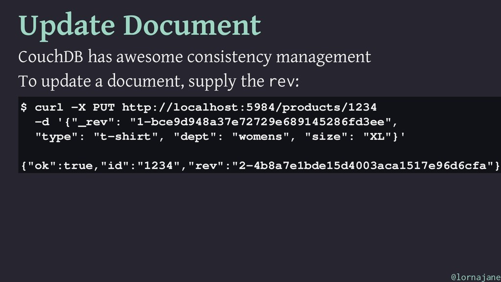 Update Document CouchDB has awesome consistency...
