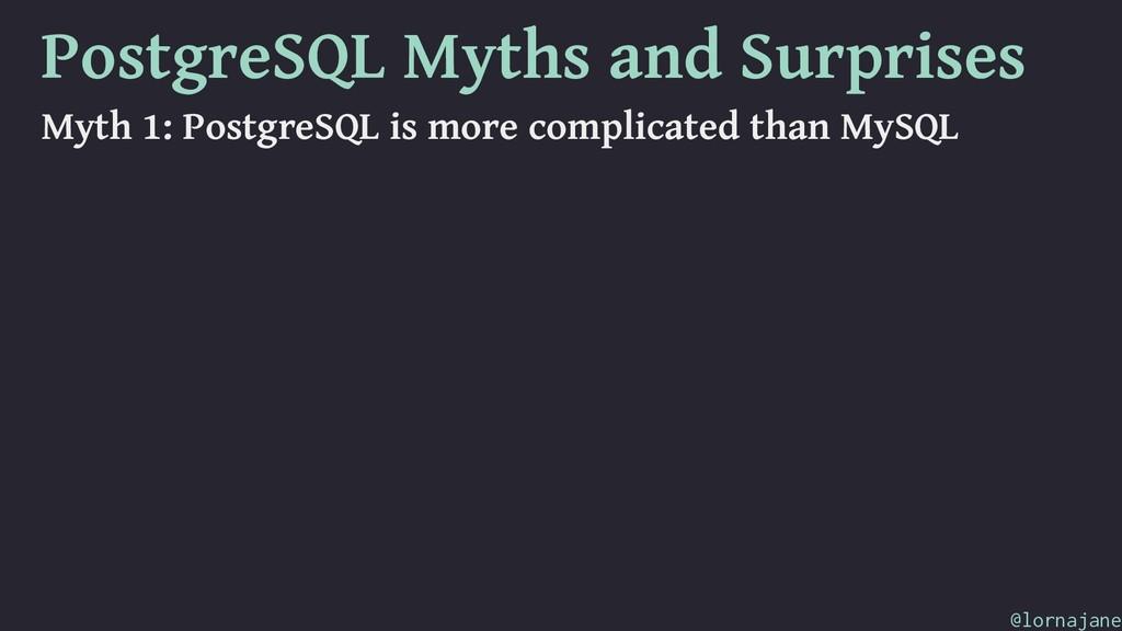 PostgreSQL Myths and Surprises Myth 1: PostgreS...
