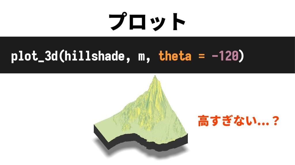 プロット plot_3d(hillshade, m, theta = -120) 高すぎない....