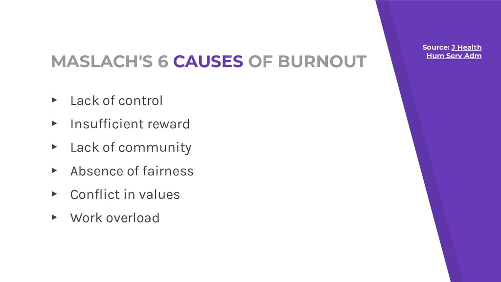 MASLACH'S 6 CAUSES OF BURNOUT ▸ Lack of control...