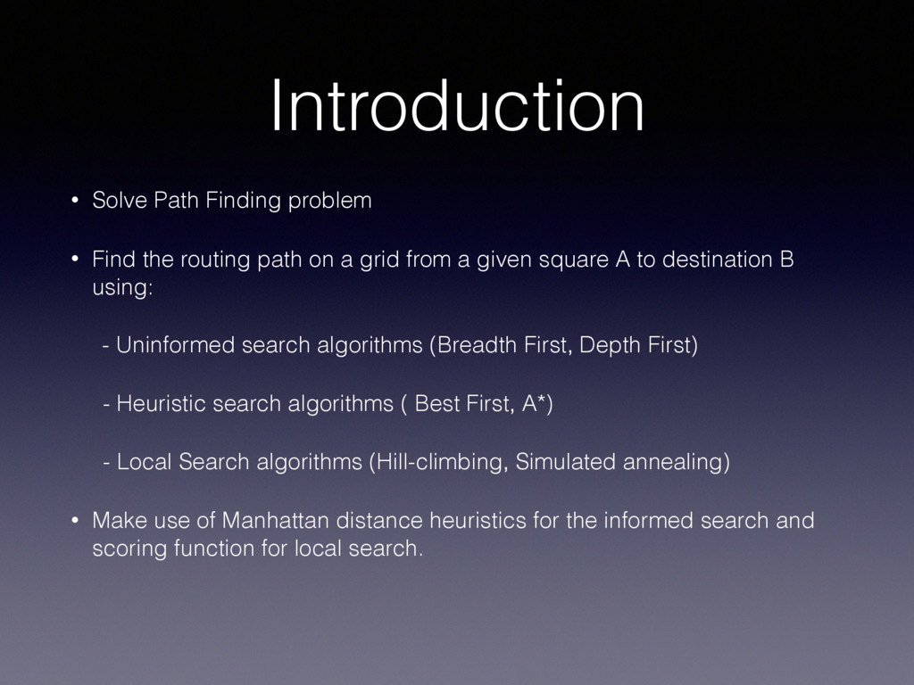 Introduction • Solve Path Finding problem • Fin...