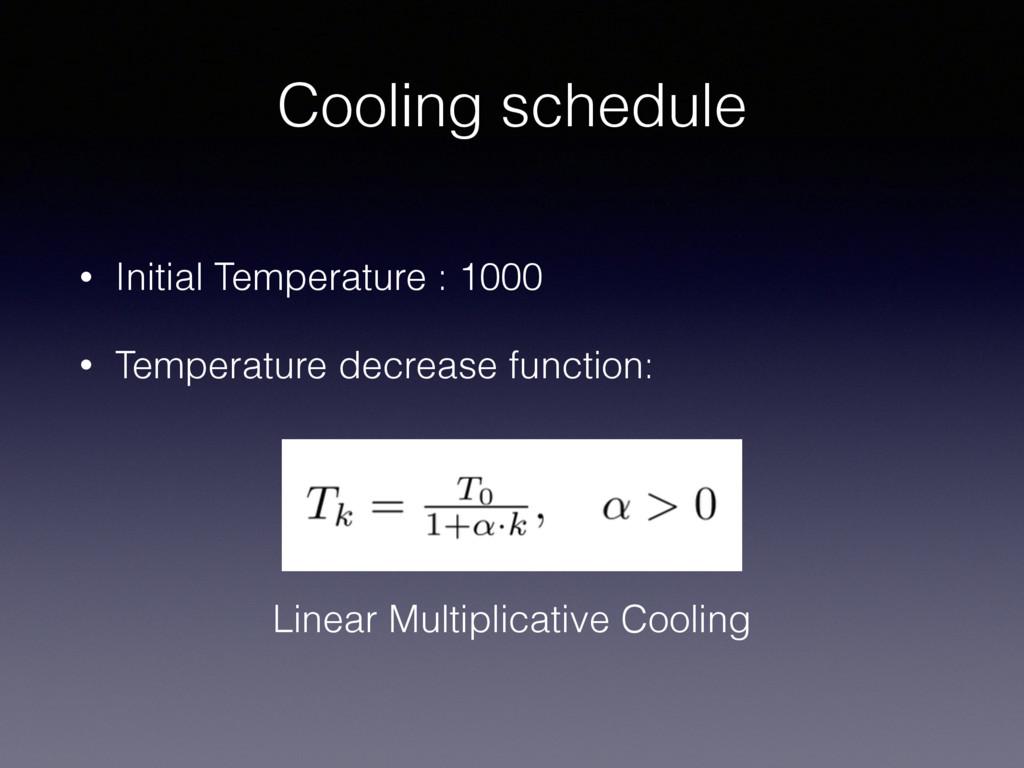 Cooling schedule • Initial Temperature : 1000 •...