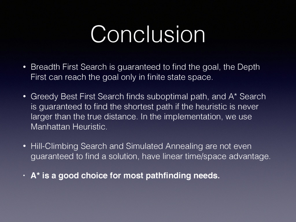 Conclusion • Breadth First Search is guaranteed...