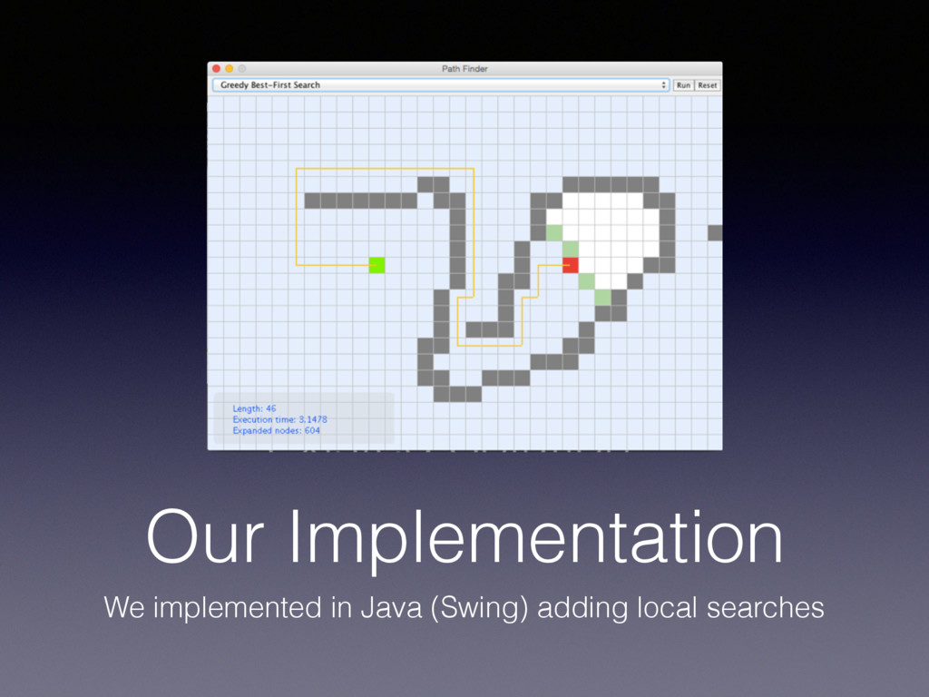 Our Implementation We implemented in Java (Swin...