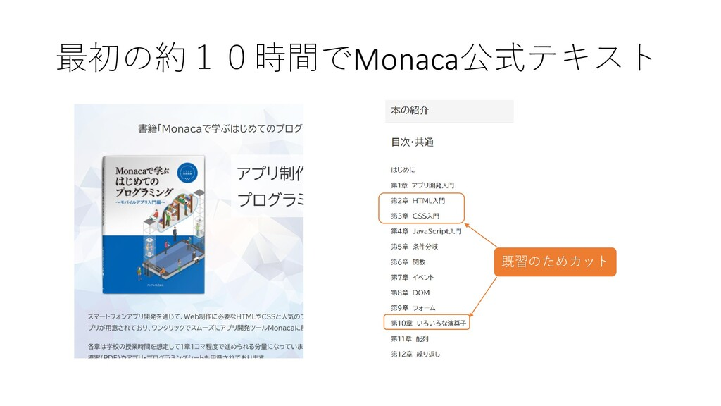 最初の約10時間でMonaca公式テキスト 既習のためカット