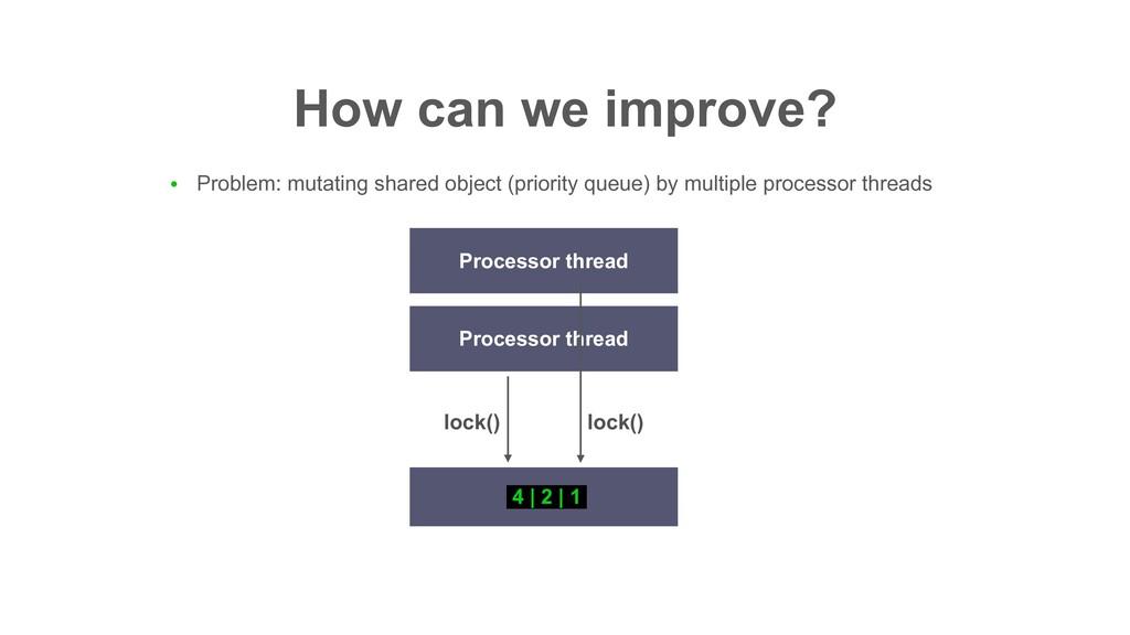 How can we improve? 4 | 2 | 1 Processor thread ...