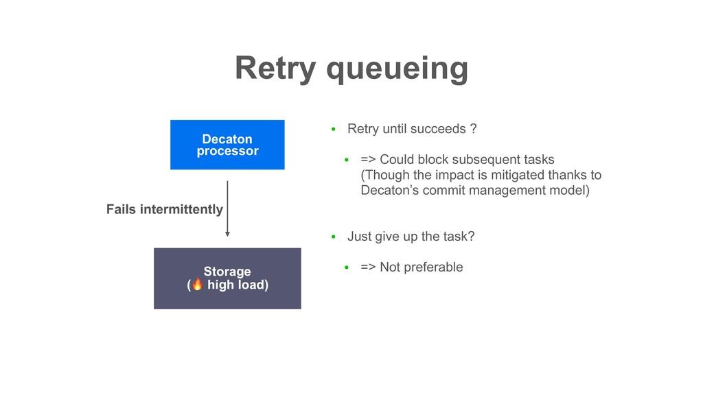 Retry queueing ● Retry until succeeds ? ● => Co...