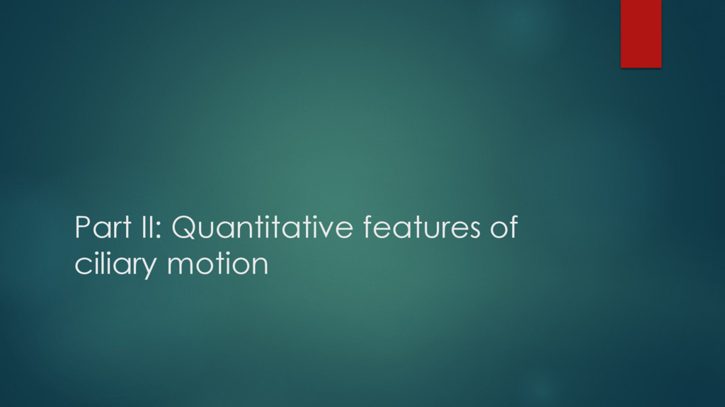 Part II: Quantitative features of ciliary motion