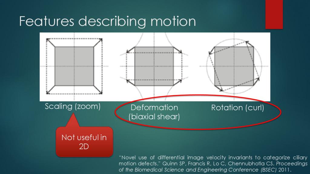 Features describing motion Scaling (zoom) Defor...