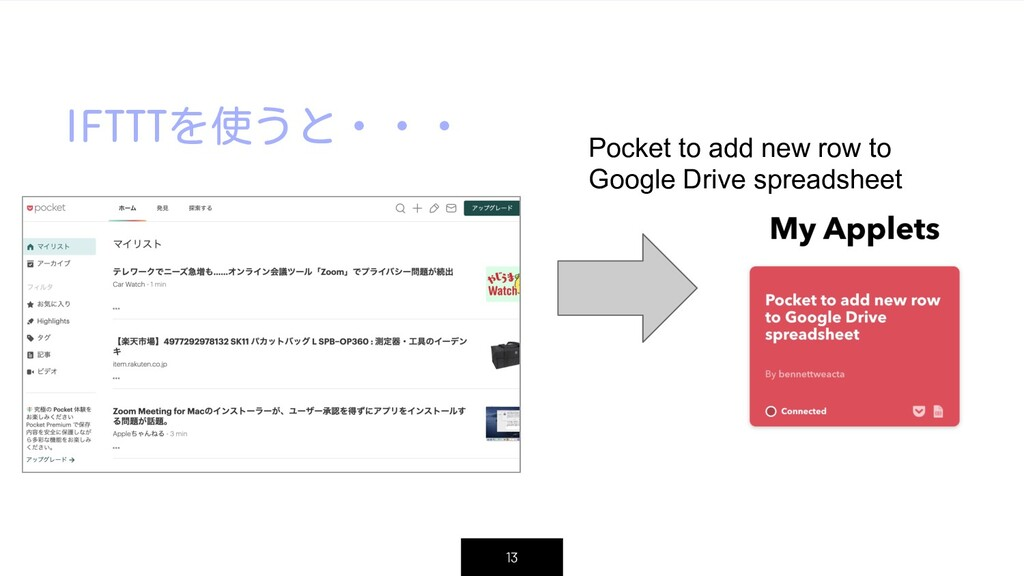IFTTTを使うと・・・ 13 Pocket to add new row to Google...