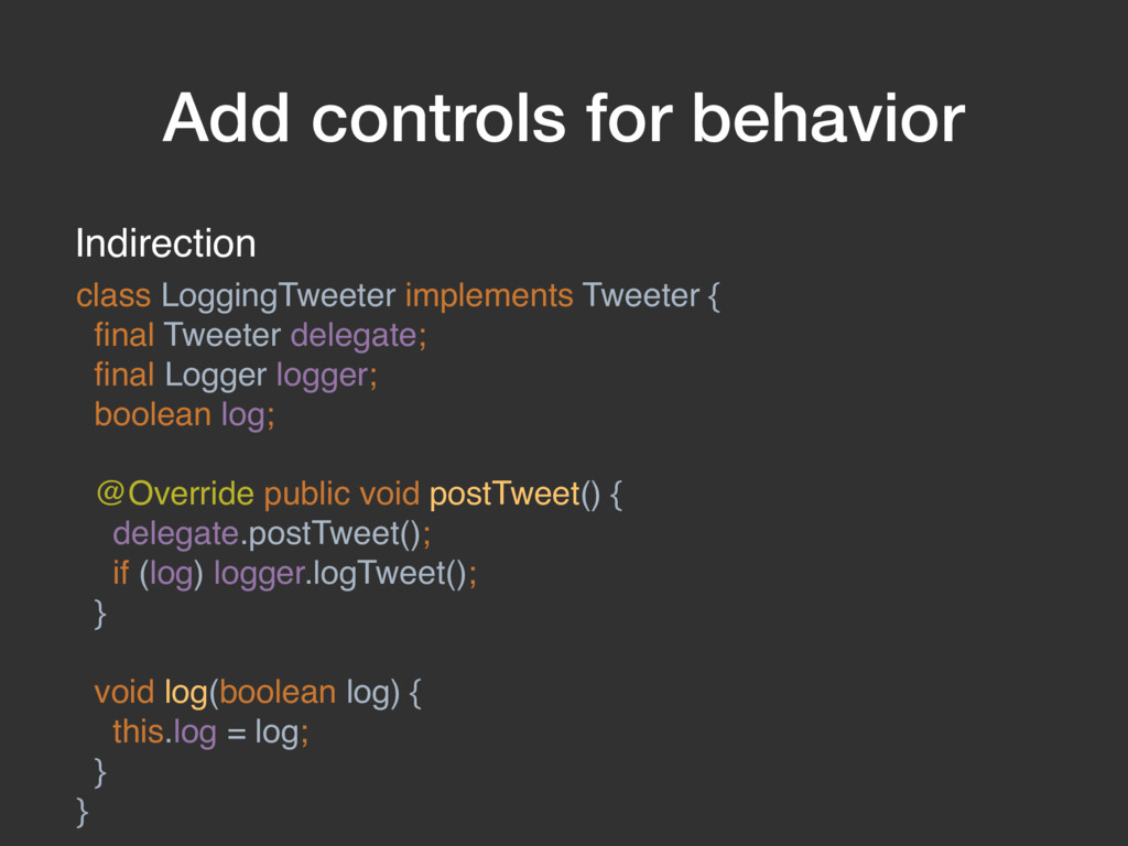 Add controls for behavior Indirection class Log...